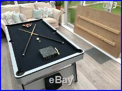 Grey pool table With Board dining table used, balls And Accessories