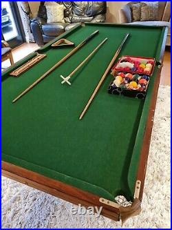 Jaques Folding Snooker Table 7' X 3'6 With Cues, Balls & Accessories Used