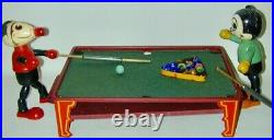 Lithographed Metal Non Mechanical Toy Pool Table + Accessories Made USA 1930s