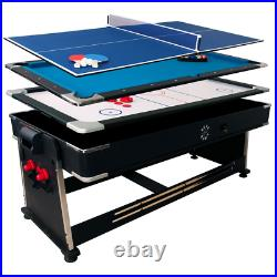 Multi Game Table 3-in-1 Pool Air Hockey Tennis 7ft Accessories Included