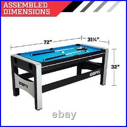 NEW Combo Swivel Game Table 72 4-in-1 Hockey Pool Ping Pong + Accessories