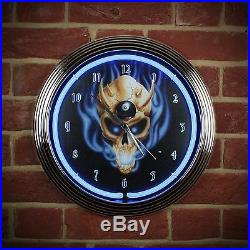 Neon Billiards Sign Wall Clock Pool Demon Game Room 8 EIGHT BALL SKULL Lit Face