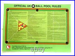 Official British 8 Ball English Pool Tables Room 1-9 Rules Sheet / Poster