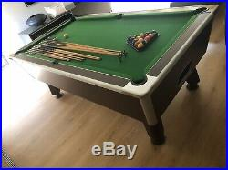 Omega 2.0 Slate Bed Pool Table 7x4ft, Green with Oak Surround plus accessories