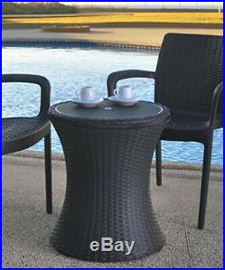 Outdoor Patio Pool Cooler Table, Brown Keter 7.5-Gal Bar Style Party Accessory
