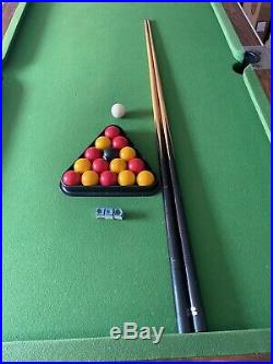 POOL TABLE SLATE BED GREEN 7ft x 4ft, With Accessories
