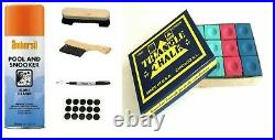POOL or SNOOKER TABLES CLOTH CLEANING / VALET, RE MARK KIT With TRIANGLE CHALKS