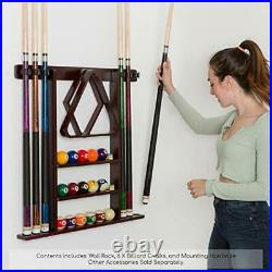 Pool Cue Rack Stick Holder 16 Ball Holders Wall Mount Billiard Table Accessories