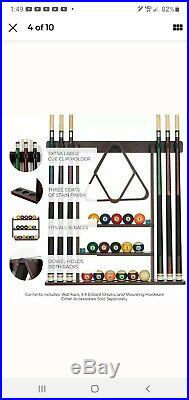 Pool Cue Rack Stick Holder Wall Mount 16 Ball Holders Billiard Table Accessories