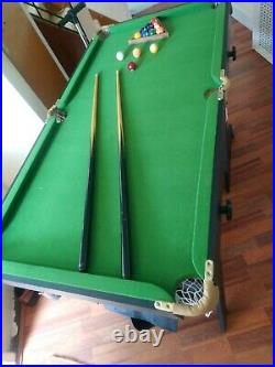 Pool Table, 2-Cues, Balls & accessories length 54, width 28, height 31inches