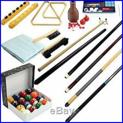 Pool Table 32 Piece Accessory Set Complete Billiards Game Room Bar with Cover