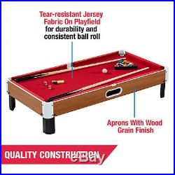 Pool Table Large 48 Inch Billiard Game Burgundy Compact Size With Accessories