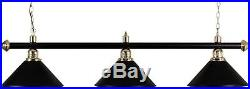 Pool Table Lighting Black Enameled Brass Bar With 3 Black Shades##
