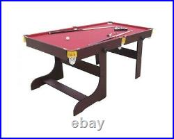Pool Table Snooker 6ft Folding Red Cloth With Accessories UK Fast Delivery