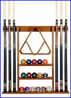 Pool Table Wall Mount Rack Mahogany For 6 Cues Billiard Balls Racks Accessories
