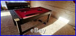 Pool and air hockey reversible table with accessories