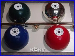 Pool/snooker Brass Rail Light With Various Plastic Bowl Shade Colours