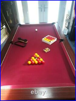 Pool table 7ft x 4ft pool supreme red cloth with accessories inc free cues