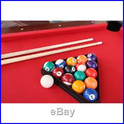 Pool table red 7ft table new in box all accessories brown snooker sticks balls