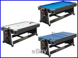 Rotates 3in1 pool table tennis air hockey board 7ft new accessories collect Deli