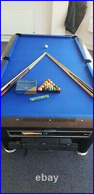 Sam K Steel 9ft American Pool Table with Aramith Pro Balls & Accessories