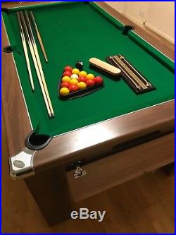 Signature 6ft Dark Walnut Pool table with Accessories. Ex. Cond. Only 1yr old
