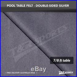Silver Double-sided Wool Pool Snooker Table Top Cloth Felt for 7''/8'' UK