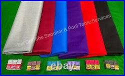 Strachan Superpro 6 & 7 Ft Pool Cloth 7 Colours 6 Free Colour Matching Chalk