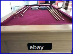 VGC ExPub 7 x 4 Foot Slate Bed Beech Refurbed Pool Table & Lots of Accessories
