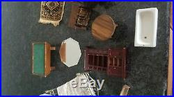 Vintage 17 Piece Lot Wood Dollhouse Furniture & Accessories tub pool table rugs