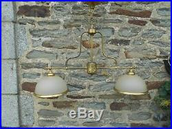 Vintage French Brass/glass Pool Snooker Table Light 2 Dome Pub Home Man Cave