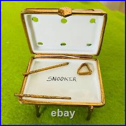 Vintage French LIMOGES Trinket Box Wonderful Snooker /Pool Table withaccessories