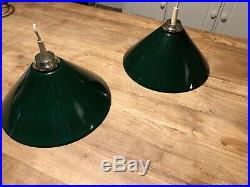 Vintage Green Snooker Pool Table Lights X2 Brass Fittings. Or Kitchen Lights