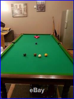 Vintage slate bed snooker pool table And Accessories